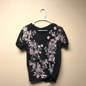 Bloomingdales Black Shirt with Floral Design